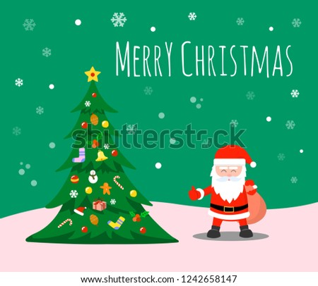 Merry Christmas and Happy new year. Santa Claus and Christmas trees adorn the decorations under the snowflakes.
