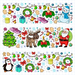 Merry Christmas and happy new year. Santa Claus, deer, snowman, penguin. Vector pattern.