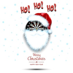 Merry Christmas and Happy New Year. Santa in the form of a dartboard. Dartboard with beard and santa hat. Greeting card design template with for new year. Vector illustration