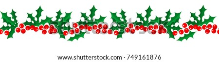 Merry Christmas and Happy New Year seamless holly pattern border isolated on white background for your holiday decoration design. Vector illustration.