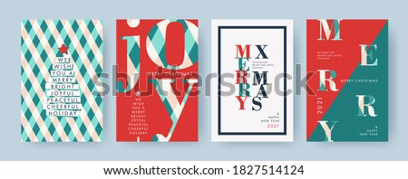 Merry Christmas and Happy New Year Set of backgrounds, greeting cards, posters, holiday covers. Design templates with typography, season wishes in modern minimalist style for web, social media, print