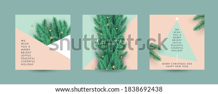 Merry Christmas and Happy New Year Set of backgrounds, greeting cards, posters, holiday covers. Design with realistic New Year's eve Christmas tree branches. Xmas festive templates with copy space