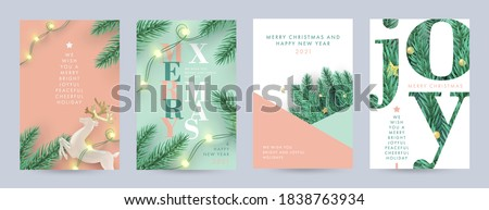 Merry Christmas and Happy New Year Set of backgrounds, greeting cards, posters, holiday covers. Xmas Design with realistic fir tree branches, deer and garlands lights in modern 3d realistic style