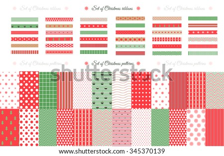 Merry Christmas and Happy New Year! Set of Classic Christmas patterns with red, green and white colors. Vector illustration. Big collection of 21 winter holiday backgrounds.
