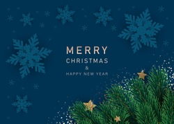 Merry christmas and happy new year snowflakes on blue background. Greeting card, invitation, flyer vector.