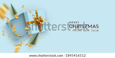 Merry christmas and Happy New Year template with open gift box. Xmas design Realistic decorative objects. Sale banner, surprise poster, flyer and brochure. mock up holiday. vector flat lay, top view