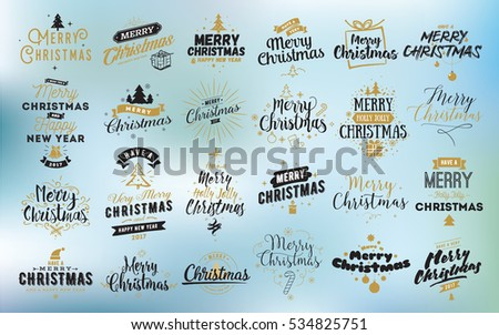 Merry Christmas and Happy New Year 2017 typographic emblems set. logo, text design. Usable for banners, greeting cards, gifts etc.  #534825751