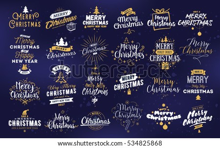 Merry Christmas and Happy New Year 2017 typographic emblems set. logo, text design. Usable for banners, greeting cards, gifts etc.  #534825868