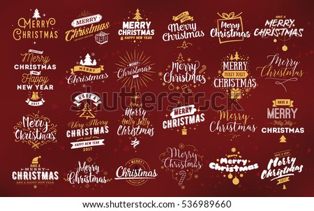 Merry christmas logo download free vector art stock graphics images merry christmas and happy new year 2017 typographic emblems set logo text design m4hsunfo
