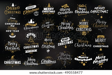 Merry Christmas and Happy New Year 2017 typographic emblems set. Vector logo, text design. Usable for banners, greeting cards, gifts etc. #490558477