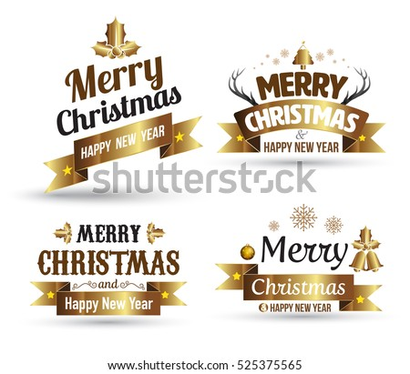 merry christmas and happy new year typographic gold collection vector illustration