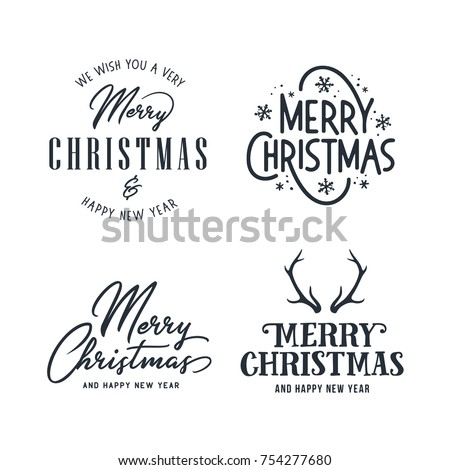 Merry Christmas and Happy New Year typography set. Holiday related lettering templates for greeting cards, overlays, decoration. Vector vintage illustration.