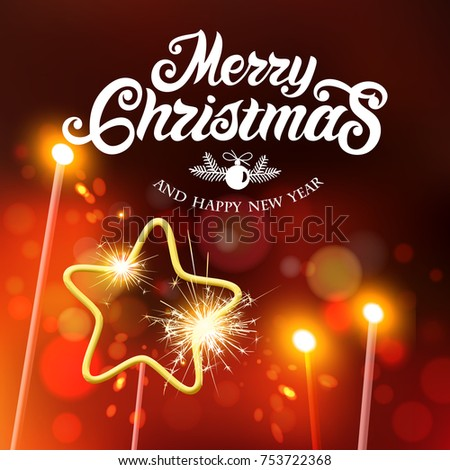 Merry Christmas and Happy New Year  typography vector design for greeting cards and poster with Bengal lights. Merry Christmas hand lettering. Vector illustration.