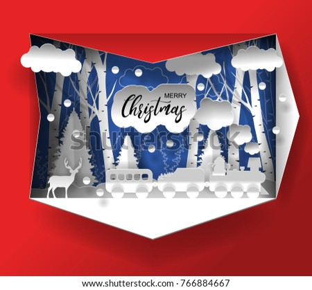 Merry christmas and Happy New Year 2019 /2020 vector design. Paper art and craft style.