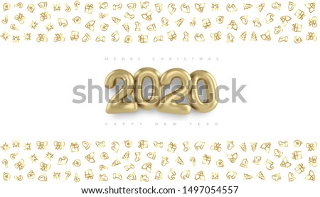 Merry christmas and Happy New Year 2020 vector gold design banner. Golden background, greeting card template Merry christmas and Happy New Year 2020. Realistic 3D lettering gold 2020