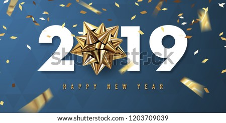 merry christmas and happy new year 2019 vector greeting card and poster design with golden ribbon and star. #1203709039