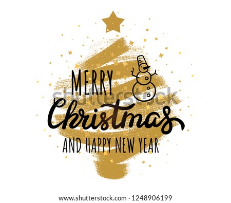 Merry Christmas and Happy New Year. Vector hand drawn lettering with snowman simple illustration. Grungy modern Christmas tree with star sparkles. Isolated vector template for prints and web design.