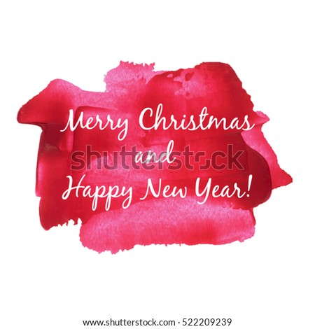 Merry Christmas and Happy New Year Vector illustration isolated watercolor on red watercolor background