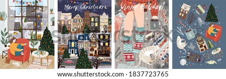 Merry Christmas and Happy New Year! Vector illustration of winter holidays: home living room interior with woman, night cityscape, cozy rug with pet cat and coffee. Drawings for postcard and poster