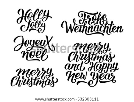 merry christmas and happy new year vector lettering set with french english and german greetings