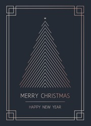 Merry Christmas and Happy New Year. Vector modern template card. Abstract geometric christmas tree. Rose gold pattern.
