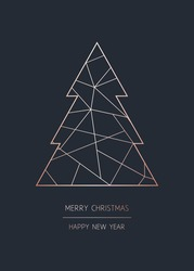 Merry Christmas and Happy New Year. Vector modern template card. Abstract geometric christmas tree. Rose gold pattern