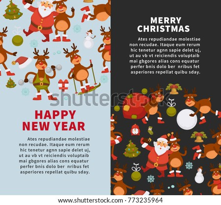 Merry Christmas and Happy New Year 2018 vector posters of deer cartoon funny character celebrating holidays