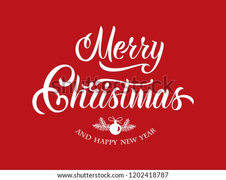 Merry Christmas and Happy New Year vector text Calligraphic Lettering design card template. Calligraphic handmade lettering.