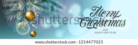 Merry Christmas and Happy New Year vector text Calligraphic Lettering design card template with  gold and transparent Christmas ball. Vector text. Design template celebration.