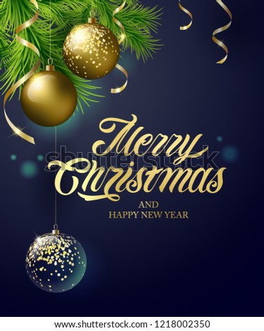 Merry Christmas and Happy New Year vector text Calligraphic Lettering design card template with gold serpentine, gold and transparent Christmas ball. Vector text. Design template celebration.
