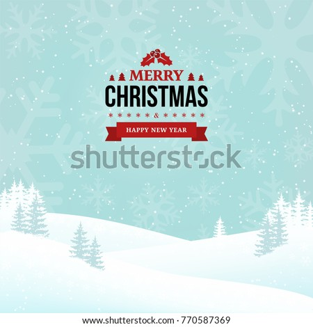 Merry Christmas and Happy New Year vintage badge on the landscape background. Shining holiday winter background with falling snow, trees and snowflakes. Clean and minimal design. Vector Illustration.