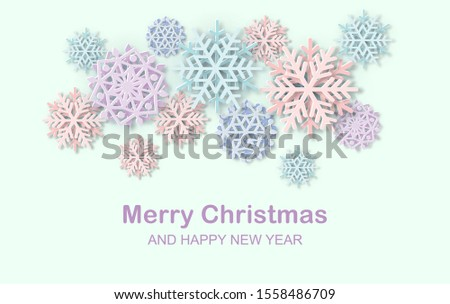 Merry Christmas and Happy New Year web banner. Greeting poster with Papercut Snowflakes. 3D Layered falling snow flake winter design elements. Vector Xmas, Noel seasonal header, card, blog article