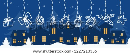 Merry Christmas and Happy New Year winter holidays banner with holidays objects. Vector illustration