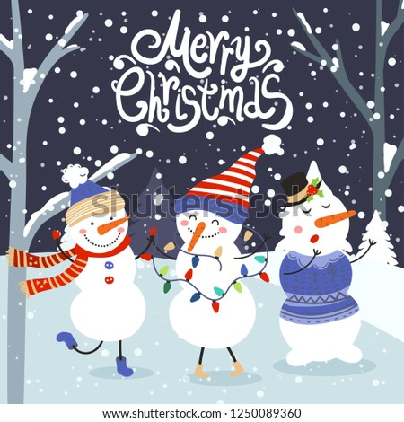 Merry Christmas and Happy New Year winter holidays greeting card with snowmans. Vector illustration #1250089360