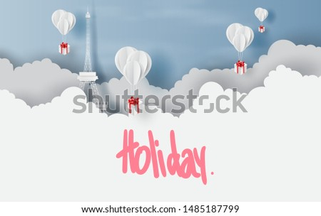 Merry Christmas and Happy new year with balloons gift box fly on air sky concept.Holiday festival party view  Eiffel Tower Paris.Scene place of your text for card and poster.Paper cut and craft.vector
