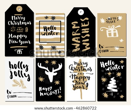 Merry Christmas and Happy New Year.With Love. Holly Jolly. Hello Winter. Happy Holidays. Hand lettered winter holiday posters, gift tags. Calligraphic set of greeting cards.  Vector illustration