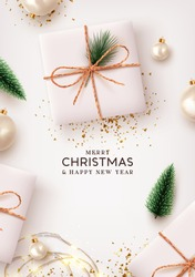 Merry Christmas and Happy New Year. Xmas Background design lights garland, realistic gifts box, white balls and glitter gold confetti. Christmas poster, holiday banner, lush green tree and pine.
