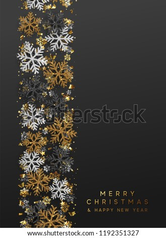 Merry Christmas and Happy New Year. Xmas background with Shining gold Snowflakes. Greeting card, holiday banner, web poster #1192351327