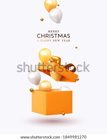 Merry Christmas and Happy New Year. Xmas design realistic gifts box, falling helium balloons, 3d golden chocolate candies. Holiday gift background. Poster, banner, brochure, flyer. vector illustration