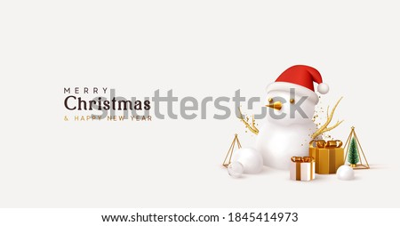 Merry Christmas and Happy New Year. Xmas Festive background. Realistic 3d objects snowman, gifts boxes, decorative design elements tree and snow. Holiday Greeting card, banner, web poster.