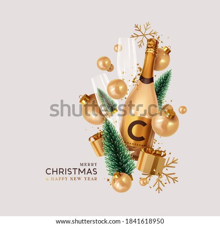Merry Christmas and Happy New Year. Xmas Festive background with realistic 3d objects champagne bottle, gift boxes, bauble balls, green christmas tree. Levitation falling design composition.
