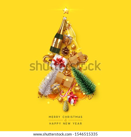 Merry Christmas and Happy New Year. Xmas Festive background with realistic objects. Composition shape christmas tree. Holiday elements, 3d render and realism. Greeting card, banner, web poster.