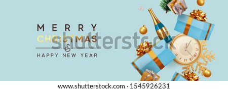 Merry Christmas and Happy New Year. Xmas Festive background with realistic objects. Holiday elements, 3d render and realism. Greeting card, web poster. Horizontal blue banner, headers website. vector