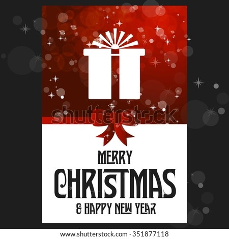 Merry Christmas and Happy Winter background celebration typography with presents and gift box