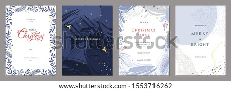 Merry Christmas and Modern Business Holiday cards. Abstract creative universal artistic templates. Vector illustration.