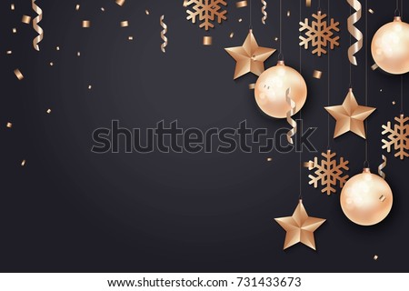 Merry Christmas and 2018 New Year background for holiday greeting card, invitation, party flyer, poster, banner. Gold ball, star, snowflake, confetti on black background. #731433673