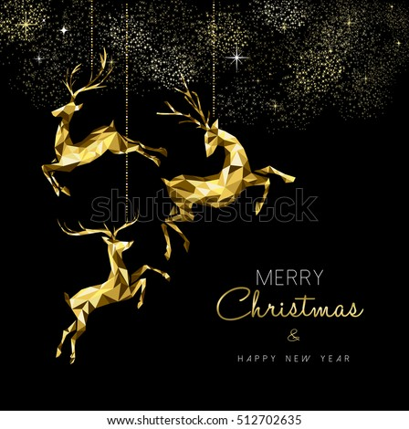 Merry Christmas and New Year elegant gold winter reindeer decoration in low poly style. EPS10 vector.