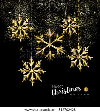Merry Christmas and New Year gold winter holiday decoration, low poly snowflakes on fireworks sky. EPS10 vector.