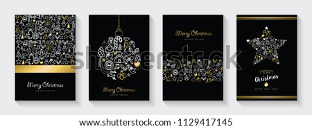 Merry Christmas and New Year greeting card collection, holiday illustrations with gold  outline icon decoration set. EPS10 vector. - Shutterstock ID 1129417145
