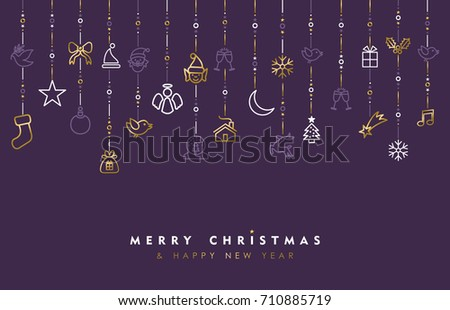 Merry Christmas and new year greeting card design, gold holiday line art icon ornament decoration illustration. EPS10 vector.